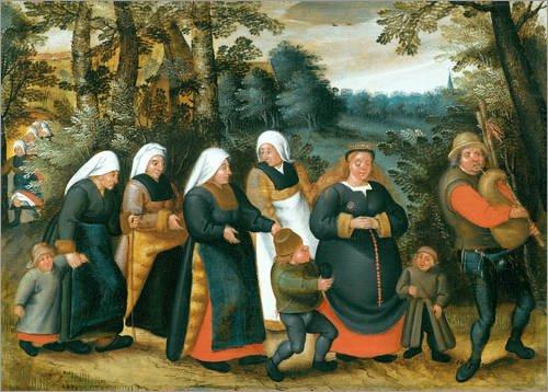 Acrylglasbild 130 x 90 cm: Die Prozession der Braut von Pieter Brueghel d.J. - Wandbild, Acryl Glasbild, Druck auf Acryl Glas Bild