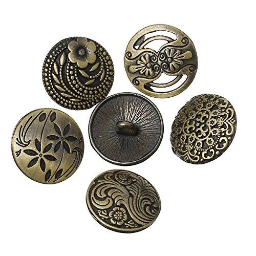 SiAura Material 10x Zufällig Gemischte Metallknöpfe, bronzefarben, D. 17 mm, Lochgröße 2,3 mm