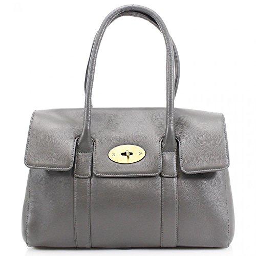 LeahWard® Real Leder Damen Große Größe Handtaschen Genuine Ledertasche Grau Ledertasche H45cm x W37cm x D15cm