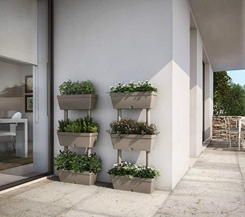 vaso vasi fioriere fioriere da giardino orto verticale tortora kit 1pz 50x17x100h