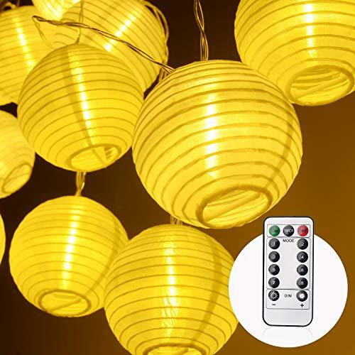 herefun lanterne da esterno led, luci stringa impermeabile da 4.2m 20 led luci solare decorativa per giardino decor giardino prato patio matrimonio (bianco caldo) [classe di efficienza energetica a]