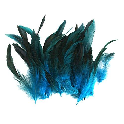 hwanzfedern Natur Hahnenfedern Deko DIY Kopfschmuck - Deep Blue (Großhandel Kostüm Schmuck)