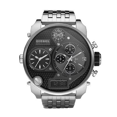 Diesel Mr. Daddy Multi Movement DZ7221 - Reloj analógico - digital de cuarzo para hombre, correa de acero inoxidable color plateado (cronómetro)