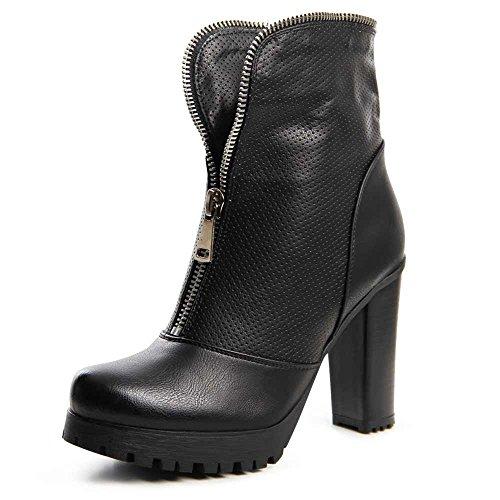 topschuhe24 696 Damen Plateau Stiefeletten Ankle Boots Schwarz