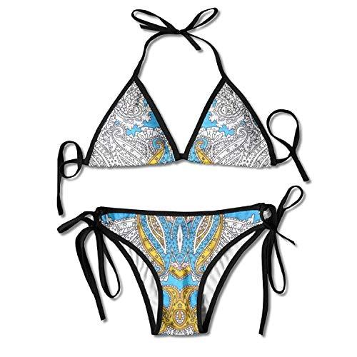 Paisley Motif Bikini Women's Summer Swimwear Triangle Top Bikinis Swimsuit Sexy 2-Piece Set - Paisley Triangle Bikini Top