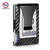 RFID Blocking Front Wallet Carbon Fiber Money Clip & Business Card Holder Men's Modern Design Wallet Business Use