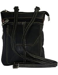 NAZ Women Black Leather Messenger Bag - B01IHQXFV4