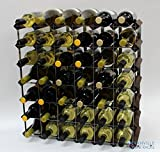 Classic 42 bottle dark oak stained wood and galvanised metal wine rack ready assembled