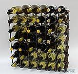 Legno Classic 42 bottiglia in rovere tinto scuro e metallo zincato vino rack autoassemblaggio
