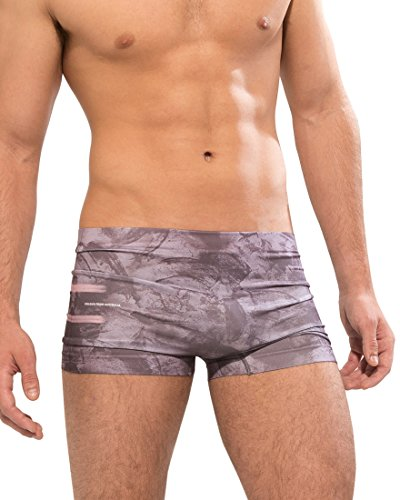 Croota Mens Graphic Print Low Rise Seamless Retroshorts HT02-Wine