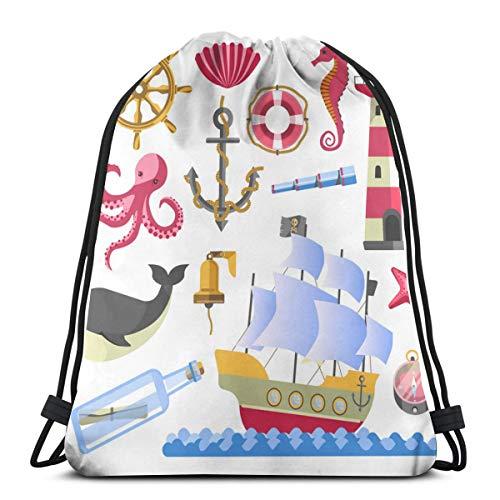 Marine Symbole Unterwasser Tiere und Schiff mit_92 Kordelzug Rucksack Schnurtasche wasserdichtem Polyester für Fitness-Studio-Einkäufe Sport Yoga 14,2 x 16,9 Zoll