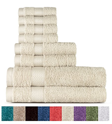 Welhome 100% cotton 8 piece tovagliolo (crema); 2 teli da bagno, 2 asciugamani e 4 salviette, lavabile in lavatrice