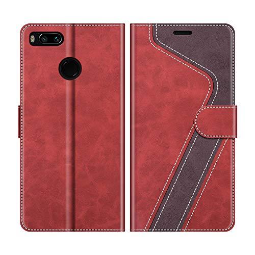 MOBESV Funda para Xiaomi Mi A1, Funda Libro Xiaomi Mi A1, Funda Móvil Xiaomi Mi A1 Magnético Carcasa para Xiaomi Mi A1 Funda con Tapa, Rojo