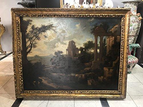 Antiquariato araba fenice antico paesaggio dipinto quadro olio su tela epoca xvii secolo