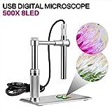 SHUOGOU USB Digital Mikroskop, erweiterte CMOS Sensor 1-500X 2MP USB 1600 x 1200 HD Imaging, 8 LED Einstellbare Lichtquelle, Lupe Inspektionskamera Wasserdicht für Haus, Gesundheit, PCB Inspektion