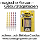 10 magische Kerzen nicht ausblasbar Geburtstagstorte Geburtstagskerzen PARTY GAG