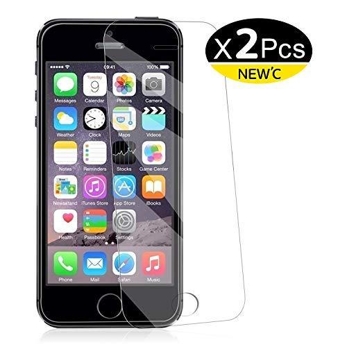NEW\'C PanzerglasFolie Schutzfolie für iPhone 5s, 5, SE, 5C, [2 Stück] Frei von Kratzern Fingabdrücken und Öl, HD Displayschutzfolie, Displayschutzfolie iPhone 5s,5,SE,5C