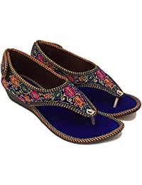 Pawadi Women's Ethnic Wedges Fashion Sandal Casual Bellies Flats Multicolored Heels Sandal