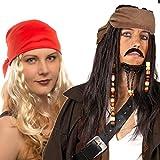 Hatstar Piraten Perücke Seeräuber- mit Bandana, Perlen und Charms (Pirat Dunkelbraun - Kopftuch Braun)