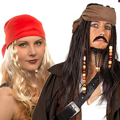 Hatstar Piraten Perücke Seeräuber- mit Bandana, Perlen und Charms (Pirat Dunkelbraun - Kopftuch Braun) (Bandana Perücke)