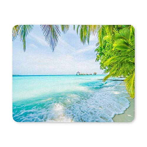 BGLKCS Island with Sea Waves Beach and Palm Tree Non-Slip Rubber Base Mousepad for Laptop, Computer, PC