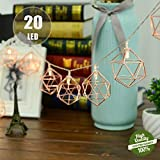 Rosé Gold Metall Laternen Lichterkette, Morbuy Geometrische Deko Pyramidenform Kupfer Batterie Lampe 3M /20LED für Kinderzimmer Innen Wohnzimmer Weihnachten Halloween (Hexagon)