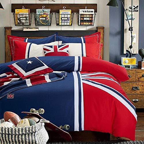 RESUXI Baumwollbettwäsche Double Flat, Country Mediterranean Gestreifte Steppdecke Britische Flagge Baumwolle 3/4-teiliges Set, Einzelbettbezug@K_1.8m Bett (4 Teile) -
