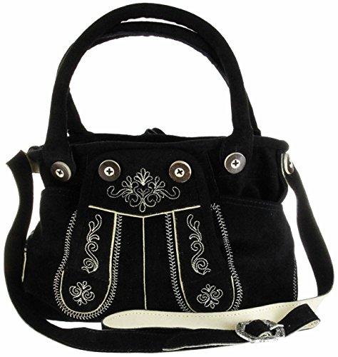 Bergheimer Trachten Damen Leder Umhänge-Trachtentasche PIA 1001 schwarz, Farbe:schwarz