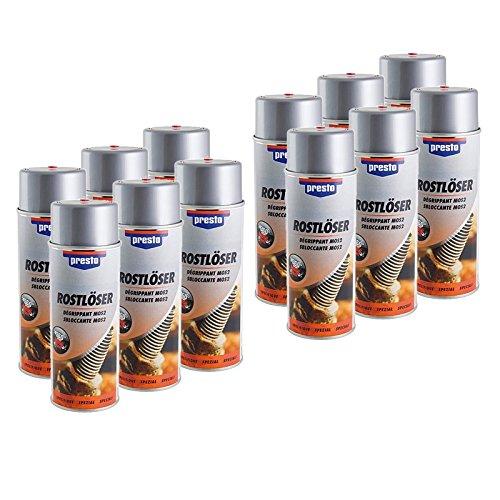Preisvergleich Produktbild 12x 400ml Presto Rostlöser Kriechöl Rostentferner Rostumwandler Rost Umwandler Löser Entferner Kriech Öl Spray Dose