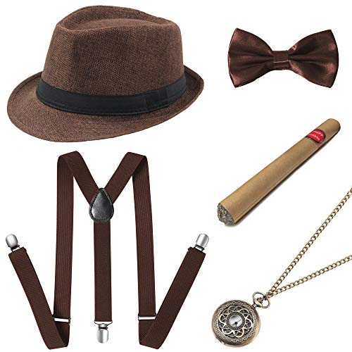 Hollywood Kostüm - Coucoland 1920s Herren Accessoires Mafia Gatsby Kostüm Set inklusive Panama Gangster Hut Verstellbar Elastisch Hosenträger Herren Halsschleife Fliege Taschenuhr und Plastik Zigarre (Braun)