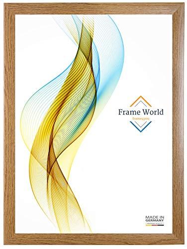 Frame World FW35 Bilderrahmen für 40 cm x 60 cm Bilder, Farbe: Eiche Rustikal, MDF-Holz Rahmen nach Maß mit entspiegeltem Acrylglas, Aussenmaß: 45,6 cm x 65,6 cm