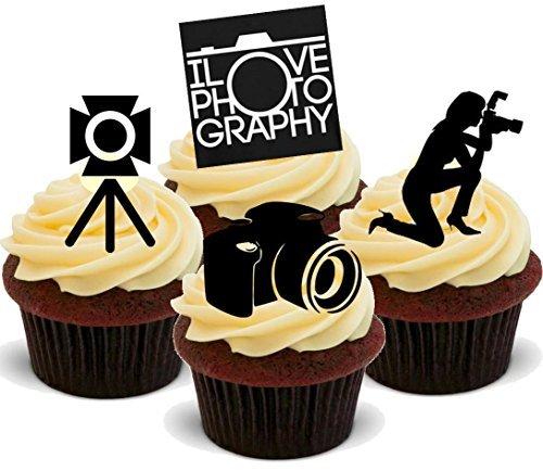 Fotografie-fotograf Hobby Weiblich Mix - Witzige Neuheit Geburtstag PREMIUM AUFRECHTSTÄNDER Essbare Waffeln Karte Kuchen Topper Deko