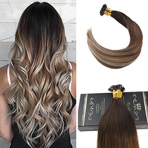 Ugeat 24 pollici/60cm flat tip estensione dei capelli dritti #4/6/613 marron con biondi cheratina capelli umani rrmy brasiliani 50gramo 1g/s