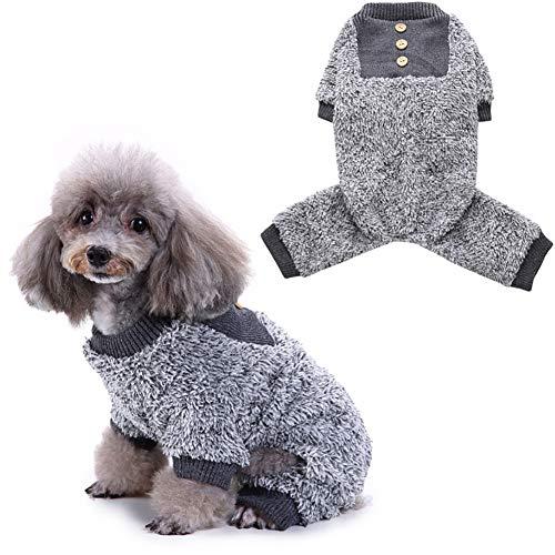(CricTeQleap Niedliche Thermische flockige Haustier-Kleidung Hund Hündchen Katze Knöpfe Herbst Winter Pyjama Mantel Overall Grey M)