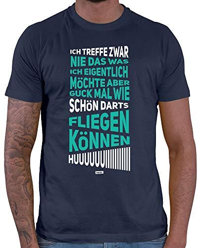 HARIZ  Herren T-Shirt Huiiiiiiiiiii Dart Sprüche Dartpfeile Weltmeisterschaft Plus Geschenkkarten Navy Blau XL