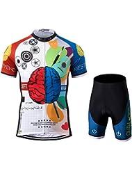 Thriller Rider Sports® Hombre Rest Your Mind Deportes y Aire Libre Maillot Manga Corta de Ciclismo y Pantalones Cortos Traje Large