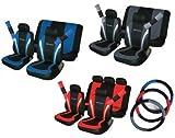 Seat Leon Sports Pack fundas de asiento de coche, cubierta de volante, almohadillas de cinturón negro y rojo