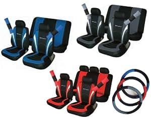 Daewoo Matiz modèles Sport Lot de housses de siège auto, Housse de volant, Fourreaux de ceinture noir & rouge