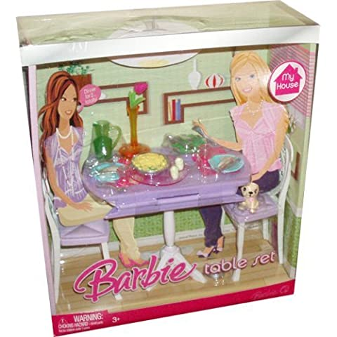 Barbie My House Accessories Set - Dining Room Table with Puppy Dog, Jug, Vase with Flower, 2 Glasses, 2 Dinner Plate, 2 Sets of Silverware, Salt and Pepper, 2 Bowls of Green Salad and Potato Salad and 2 Chairs (My House Playset and Doll are Sold Separately) by Mattel