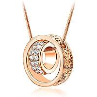 Songpanna Collana Donna Cristallo Austriaco Ciondolo a forma di doppio anello per amanti Pendente placcata oro rosa elegante
