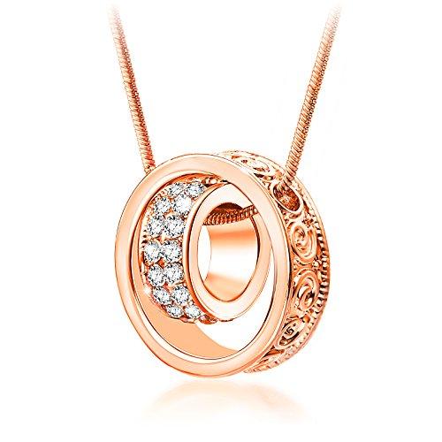Collar de mujeres, Cristales austríacos, Colgante de doble anillo, Ch