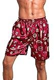 Dolamen Herren Schlafanzughose Hose Shorts kurz, 2 Stück Herren Satin unterwäsche boxershorts Nachtwäsche Trunk Pyjamahose Bottoms mit elastischem Bund zum Schlafen & Freizeit (X-Large, Rot II)