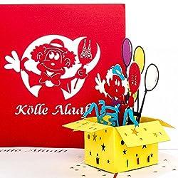"""3D Karte""""Kölle Alaaf!"""" - Pop Up Grußkarte & Glückwunschkarte aus Köln - lustige Kölnkarte als Geschenkidee zum Kölner Karneval - als Geburtstagskarte, kleines Geschenk & Souvenir aus der Domstadt"""