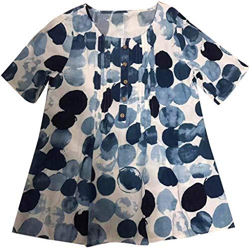 CAOQAO Spitze Hemd Solide Flroal T-Shirt Rundhals Ausschnitt Womens Casual Plus Size Lose Leinen ÄRmel Print Button Tanic Shirt Bluse