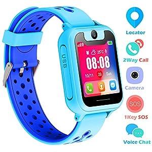 bhdlovely Kinder Uhren Smart Watch für 3-12 Jahre alte Jungen Mädchen Kinderuhr mit SOS Kamera Spiel Smartwatch Birthday Gift (Blau-S6)