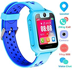 bhdlovely Reloj Niños Smartwatch LBS/GPS Pantalla Táctil Kids Safe Anti-pérdida SOS para Android e iOS Smartphone (Azul)