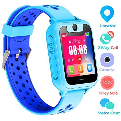 atch für 3-12 Jahre alte Jungen Mädchen Kinderuhr mit SOS Kamera Spiel Smartwatch Birthday Gift (Blau-S6) ()