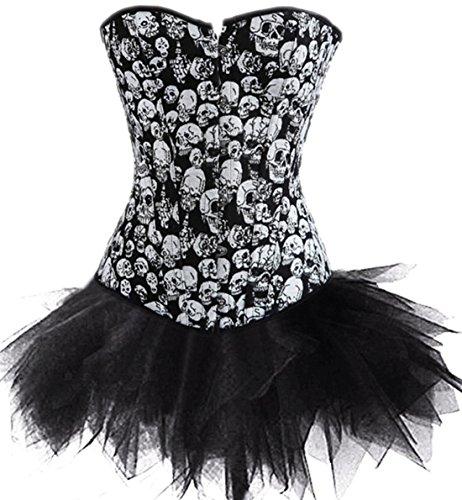 KuSen Punk Calavera Cintura Lencería Corsé corsé Vestido Halloween Carnaval Disfraces Tallas Especiales Negro-Negro 44