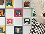 creatisto Mosaikfliesen Fußboden Dekorsticker   Fliesen Aufkleber Folie Sticker Selbstklebend Küche renovieren Bad Bodentattoo   20x20 cm Design Motiv Zoo-Maniac - 9 Stück