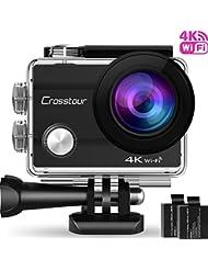 """Crosstour Caméra de Sport 4K Wi-Fi Ultra HD Étanche 2 """"LCD 30M Sous-marine 170° Grand-angle avec 2 Batteries Rechargeables 1050mAh et Kit d'accessoires pour Cyclisme Natation Plongée"""